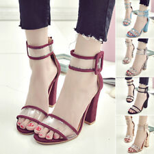 Fashion Womens High Clear Heels Ankle Strappy Open Toe Ladies Sandal Party Shoes