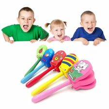 Lovely Cartoon Wooden Castanets Baby Musical Toys Bright Colors for Gifts BS