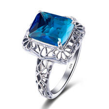 3.4ct Blue Topaz Ring 925 Sterling Silver Vintage Handmade Jewelry for women
