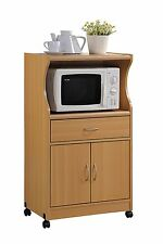 Microwave Cart With Storage Cabinet Trolley Beech Rolling Island Home Organizer
