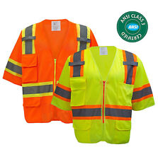ANSI/ISEA Class 3  Hi-Vis Two Tones  Safety Reflective Safety Vest Short Sleeve