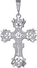 Sterling Silver Cross Pendant Necklace with Diamond Cut Finish and 24 Inch Chain