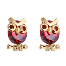 Women Fashion Owl Cubic Zirconia Stud Earrings Party Jewelry Charm Gift Braw