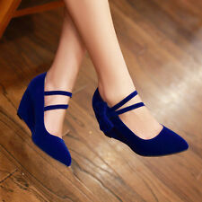Women Mary Jane Pumps Pointed Toe Wedges High Heels Bow-knot Ladies Casual Shoes