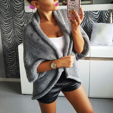 Women Knitted Cardigan Coat Long Sleeve Batwing Poncho Thick Sweater Coat Tops