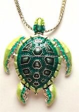 "Silver Enamel Sea Turtle Necklace Plated Green Sea Life Beach Plus Size 24"" 30"""
