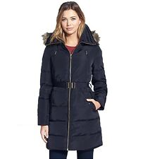 Michael Kors Women's Down Filled Coat with Zip-Out Hood Navy Dark Green Black