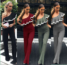 Fashion Womens Bodycon Party Jumpsuit Romper Trousers One Shoulder wear Playsuit