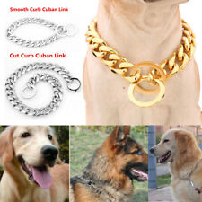 Gold Silver Tone Cuban Curb Link Stainless Steel Dog Chain Pet Training Collar