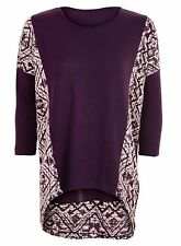 Womens Ladies Panel Drop Shoulder Top Aztec Print S, M, L, XL