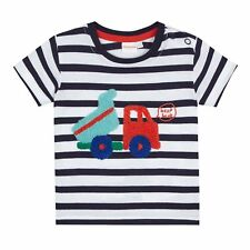Bluezoo Kids Baby Boys' Navy Striped Digger Applique Top From Debenhams