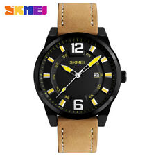 Black Dial Leather Strap White and Yellow Pointers Business Quartz Watch for Men