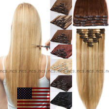 "8PCS 10""18""20"" Clip In Human Hair Extensions 100% Real Remy Hair Full Head B771"