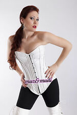 White Real Pure Leather Over bust Corset Real Steel Bones Laceup Back Front Busk
