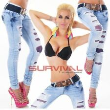 Womens Destroyed Jeans Skinny Ripped Designer Sexy Blue Low Rise Hipster Pants
