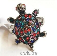 Silver Sea Life Turtle Cocktail Ring Plated Multicolor Crystal Size 7 10 USA
