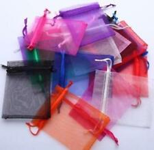 100pcs Solid Drawable Organza Voile Gift Bags For Packaging Candy Gift Bag