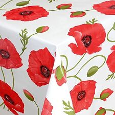Red Poppy  Wipe Clean Tablecloth Oilcloth Vinyl PVC 140cm Select Length