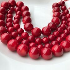 Natural Red Round Sea Coral Loose Spacer Gemstone Beads