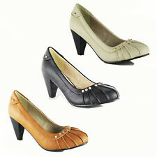 WOMENS LADIES LOW MID HIGH BLOCK HEELS PUMPS WORK COURT SHOES SANDALS SIZE 3-8