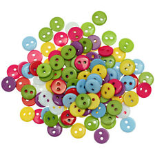 100Pcs Mixed Color Resin 2 Holes Round Buttons Scrapbooking Sewing Craft Tools