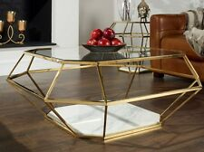 Modern Design Coffee Table Large Glass Furniture Contemporary Room Marble Metal