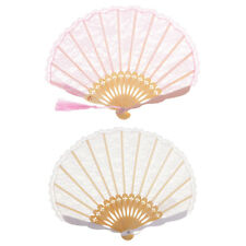 1x Lace Trim Chinese Fan Collectible Lady Gift Party Wedding Handmade Crafts