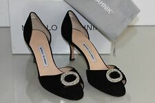 $755 NEW Manolo Blahnik Sedaraby 70 Pumps Black Suede Jeweled Dorsay Shoes 41