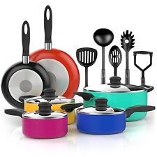 Cooking Pots and Pans Set 15 Piece Nonstick Cookware w/ Kitchen Tools BPA Free