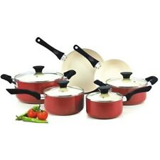 Ceramic Nonstick Set 10 Piece Healthy Pots and Pans Cookware w/ Glass Lids  Red