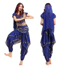 Bollywood Belly Dance Costume Top+Pant+Belt +Veil Outfit Halloween Fancy Costume