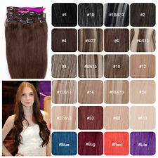 Full Head Clip in 100% Human Hair Extensions Soft Straight Hair Weft 70g-100g