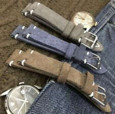 Distressed Italian Suede Leather Watch Strap H/M 18 19 20 21 22mm,