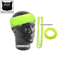 Supreme Neon Yellow Sweat Headband Gummie Bangles Bead Necklace 80s Fancy Dress