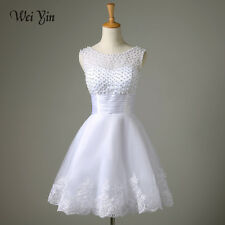 Bridal Lace Wedding Dress Short Gown White Ivory Dresses Size Prom Women Custome