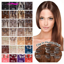 """24"""" Clip in Hair Extensions Human Hair Thick Full Head Remy Clip in Hair Weft"""