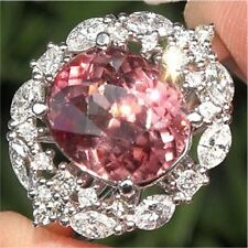 Pink Sapphire White Topaz 925 Silver Jewelry Woman Man Engagement Ring Size 6-10