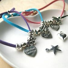 Personalised Suede & Sterling Silver Charm Bracelet Any Message Gift Idea