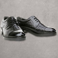 Mens Black Slip On New Leather Lined Formal Dress Lace up Shoes Size 6.5 ~ 10