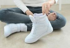 Fashion Ladies High Top Wedge Heel Casual Shoes Sneakers Lace Up Athletic New