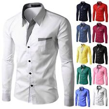 2017 New Fashion Brand  Long Sleeve Formal Casual Men's Shirt Size M TO 4XL