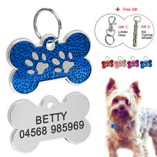 Personalized Dog Tags Cat Puppy Pet Bone ID Collar Tags Name Engraved+Whistle