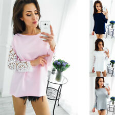 Lace Loose Tops Fashion Women's Casual Long Sleeve Blouse T-Shirt