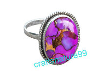 Purple Copper Turquoise Ring 925 Sterling Silver Gemstone Ring Size US 6 7 8 Blt