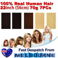 "Clip In Remy Real Human Hair Extensions 22"" inch 70g Full Head on Black Blonde"