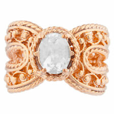 14Kt Rose Gold Plated White Sapphire Oval Cocktail Design Ring