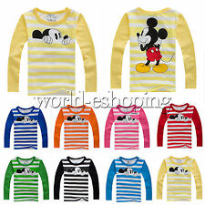 Kids Boys Girls Mickey Mouse Long Sleeve T-Shirt Cartoon Striped Blouse Top 2-8Y