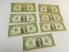 7x USA $1 dollar bank notes money currency cash dollars US