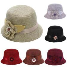 Ladies Linen Fedoras Hat with Big Flower Classic Church Bucket Hat