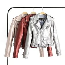 New Womens Ladies Bright Color Faux Leather Motorcycle Bomber Jacket Coat SML